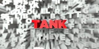 BEHÄLTER - Roter Text auf Typografiehintergrund - 3D übertrug freies Archivbild der Abgabe stock abbildung