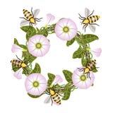 Behälter und Bienen Der stilisierte Kranz von Blumen Lizenzfreie Abbildung