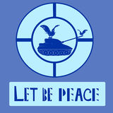 Behälter und Taube des Friedens Logo Vector Illustration Tauben und Militärbehälter-Schattenbild lokalisiert auf Motton-Blau-Hint Lizenzfreie Stockfotografie