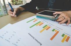 Behälter und teblet Hand der berufstätigen Frau mit Geschäftszusammenfassungs- oder Unternehmensplanbericht mit Diagrammen und Di Stockfotos