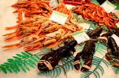 Behälter von Meeresfrüchten auf dem Markt Lizenzfreie Stockfotos