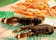 Behälter von Meeresfrüchten am Markt Lizenzfreie Stockbilder