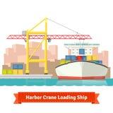 BehälterFrachtschiff lud durch großen Hafenkran Lizenzfreie Stockfotografie