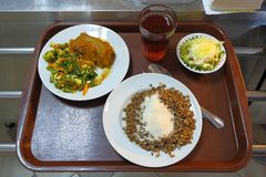 Behälterlebensmittel, das Lebensmittel-Kompottgeschirr Russland des Plattengemüsebuchweizenbreis gesundes speist stockfoto