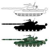 Behälterschattenbild, Karikatur, Entwurf Gesetzte Ikone der militärischen Ausrüstung Lizenzfreie Stockfotografie