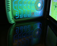 behändig mobil telefon för cellklaff Arkivfoto