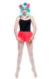 Behå Bas Ballet Pose Girl Arkivbilder
