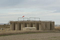 Behållare för en olje- lagring i North Dakota Royaltyfri Bild