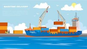 Behållare för päfyllning för skepp för transportlasthavet vid hamnen sträcker på halsen i sändningsportvektorillustration Royaltyfri Foto