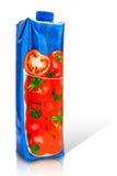Behållare för papp för tomatfruktsaft Arkivfoton