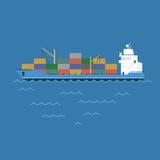 Behållare för transportering för lastfartyg för vektorillustrationpråm som svävar på havet Arkivfoto
