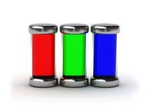 behållare fyllt färgpulver rgb Arkivfoton