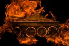 Behållare i branden Royaltyfri Foto
