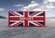 Beh?llare i 3D som framf?r den brittiska flaggan arkivbilder