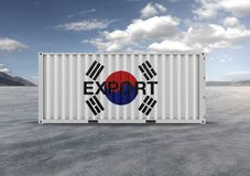 Behållare i 3D tolkningen, flagga av Korea, vita moln royaltyfri illustrationer