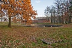 Behållare i det tidigare koncentrations- och utrotninglägret Auschwitz-Birkenau i Polen Arkivbild