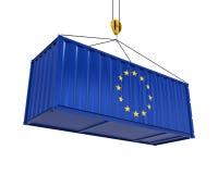 Behållare med den europeiska fackliga flaggan och Crane Hook Fotografering för Bildbyråer