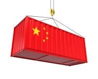 Behållare med den Kina flaggan och Crane Hook Royaltyfria Foton