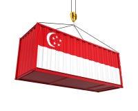 Behållare med den Singapore flaggan och Crane Hook Arkivfoto