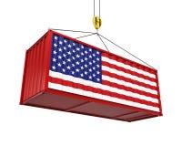 Behållare med Förenta staternaflaggan och Crane Hook Royaltyfria Foton