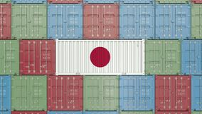 Beh?llare med flaggan av Japan Japansk sl?kt animering 3D f?r import eller f?r export royaltyfri illustrationer