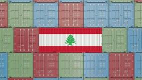 Behållare med flaggan av Libanon Libanesisk släkt animering 3D för import eller för export royaltyfri illustrationer