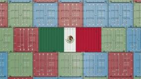 Behållare med flaggan av Mexico Mexicansk släkt animering 3D för import eller för export stock illustrationer