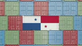 Behållare med flaggan av Panama Släkt animering 3D för för Panamian import eller export vektor illustrationer