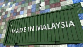 Behållare med GJORT I den MALAYSIA överskriften Malaysisk släkt loopable animering för import eller för export lager videofilmer