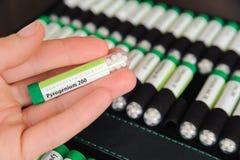 Behållare med homeopatiska bollar Royaltyfria Bilder