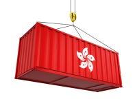 Behållare med Hong Kong Flag och Crane Hook Royaltyfria Foton