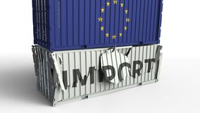 Behållare med IMPORTtext som kraschas med behållaren med flaggan av EU för europeisk union, begreppsmässig tolkning 3D vektor illustrationer