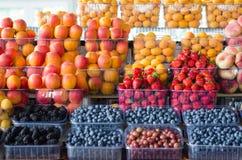 Behållare med olik mogen bär och frukt på marknaden Royaltyfri Bild