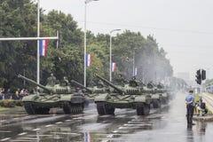 Behållare och kroatisk armé i mitten av Zagreb Royaltyfria Foton