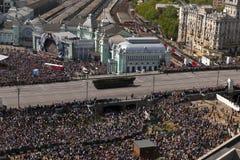 Behållare på Victory Parade, Moskva, Ryssland Arkivbild