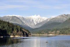 Behållare som omges av härliga berg Arkivfoto