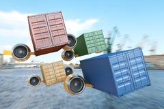 Behållare utför uttrycklig leverans av last Arkivfoto