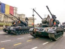 Behållarebataljon på Rumänien den nationella dagen Arkivfoton