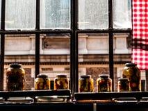 Behållareexponeringsglas som fylls med grönsaker i ett solbelyst fönster under eftermiddagen i Budapest, Ungern royaltyfria foton