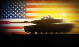 Behållareflyttningar för M1A2 Abrams snabbt mot bakgrunden av USA-flaggan Royaltyfri Fotografi