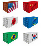 behållarehandel Arkivfoto