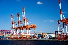 Behållarekranen i Osaka Port Arkivfoto