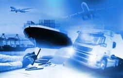 Behållarelastbil, skepp i port och fraktlastnivå i transpo arkivfoton
