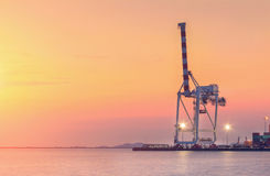 Behållarelastfrakter sänder med den arbetande kranbron i skeppsvarv på skymning för logistisk importexport fotografering för bildbyråer