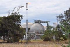 Behållaren för olje- gas och gas flammar i raffinaderi Royaltyfri Bild