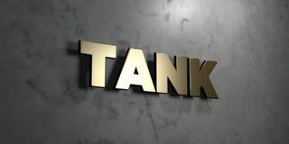 Behållaren - guld- tecken som monteras på den glansiga marmorväggen - 3D framförde den fria materielillustrationen för royalty stock illustrationer
