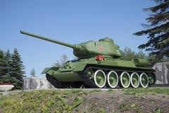 Behållaren T-34-85 Minnes- Pulkovo utomlands, St Petersburg Fotografering för Bildbyråer