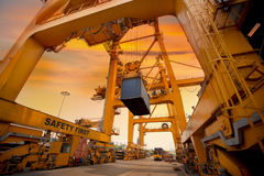 Behållareoperation i port Royaltyfria Bilder