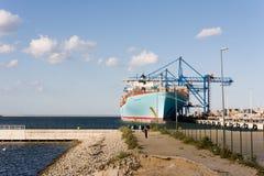 Behållareship Eleonora Maersk i Gdansk Polen Royaltyfri Bild