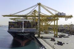 Behållareskepp i port av Dubai Royaltyfria Bilder